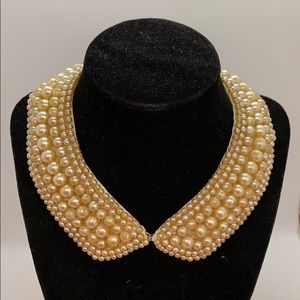 Vintage beaded collar pearl finish beads necklace